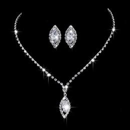 swarovski bridal sets 2019 - 12 set lot,Water drop Necklace Pendant Earring suit Inlaid Austria Crystal Earring Use Swarovski elements Twinkle Bridal