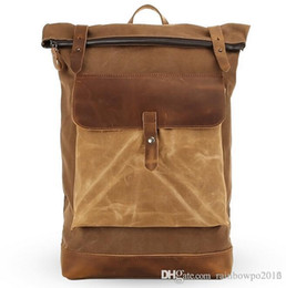 $enCountryForm.capitalKeyWord Australia - sales Contracted large capacity crazy horse leather backpack Retro canvas with leather men backpack Fashion decorative leather travel bag