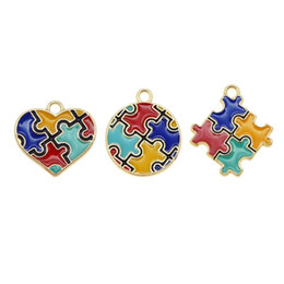 autism awareness charms NZ - Alloy Enamel Puzzle Piece Jigsaw Pendant Colorful Round Heart Shape Friends Unisex Gift Autism Awareness Necklace DIY Charms