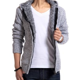 Thick Sweater Jacket Warm Australia - 2019 Fur Inside Thick Autumn & Winter Warm Jackets Sweater Hodded Men's Casual 5 Color Thick Hot Sale Sweater Nz186