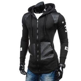 leather sleeve patches UK - Men Faux Leather Patchwork Print Long Sleeve Hoodie Outwear Coat Sweatshirt new