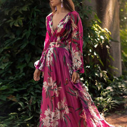 Wholesale floral chiffon maxi dress purple for sale – plus size Purple Woman Boho Maxi Dress Beach Party Plus Size Chiffon Dress Ladies Sexy V Neck Long Floral Print Summer Dresses