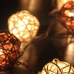 outdoor christmas ornament balls Australia - Rattan Ball String Lights Romantic Outdoor Indoor Fairy Christmas Lamps Garland Party Round Warm White Lighting DIY