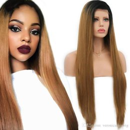 Brown Straight Wig Part Australia - Free Shipping Synthetic Wig Brown Silky Straight Long Hair Lace Front Wigs Ombre Wigs For Black Women With Natural Part In Stock