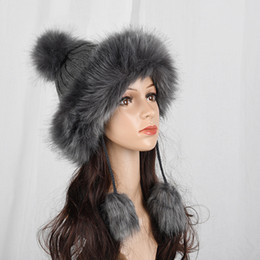 246b8cba3e7 Winter Faux Fox Fur Hat Women Knitted Thick Warm Pompom Russain Cap Beanie  Female Fluffy Fur Pom Pom Ball Hats Ski Caps Bonnet