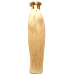 Italian Hair Extensions UK - Italian keratin Fusion Nail U TIP Hair Extensions 100S #613 Bleach Blonde Virgin Brazilian Straight Remy Hair Extensions Pre Bonded Nail Hai