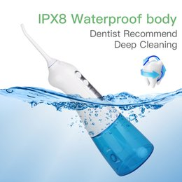 teeth cleaning water NZ - 300ml 3 Modes Rechargeable Electric Oral Irrigator Dental Water Flosser Waterproof Teeth Cleaner Floss Tooth Pick 2 Jet Tips IPX8