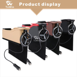Usb Cup Holder Canada - New Upgraded High Quality Leather Car Stowing Tidying Storage Box with Water Cup Beverages Drink Bottle Holder Dual USB Interface Auto SUV