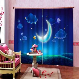 moon star party supplies NZ - Custom Cartoon fantasy Moon StarS Curtain Children's room Birthday Party Supplies Window Drapes Decor 2 Panels With Hooks