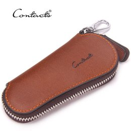 Business Car Australia - Factory Genuine Leather Key holder Package Fashion Automobile Household Leisure Time Cowhide Zipper cover car case bag Best Free shipping