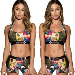 Girls swimsuits shorts online shopping - Women Ethika Tracksuit Summer Bikini Vest Crop Top Shorts Piecs Set Woman Crop Tops Shorts Swimsuit Animal Printed Cartoon Swimwear C6304
