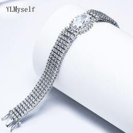 23cm Silver Bracelets Australia - 23cm length Big full crystal Bracelets for bridal wedding party jewelry white luxury jewellery silver plate Bracelet bangle