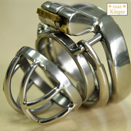 Wholesale adult short pants resale online - Adult men s short stainless steel anti offset version of the chastity lock pants with curved snap ring sex toys