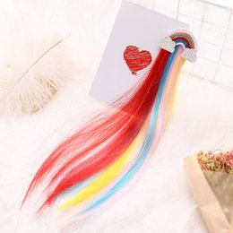 Rainbow coloR haiR wigs online shopping - Rainbow Cloud Side Clip Cute Princess Children Hairpin Color Baby Wig Hair Clip accessory for lovely girls for party Christmas Day