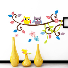 Wallpaper kids tree oWl online shopping - Color cartoon owl tree branches Wall Stickers for kids rooms living room Decals wallpaper bedroom nursery background home decor