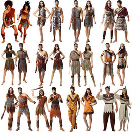 Wholesale leopard women halloween costume for sale – halloween Party Cosplay Stage Costume Halloween Theme Style Original Savage Indigenous Indian Leopard Clothing Suit Adult Men and Women Party Set