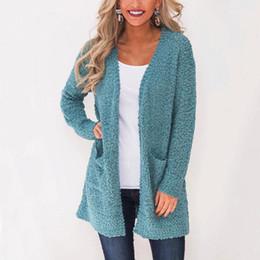 $enCountryForm.capitalKeyWord NZ - Women Elegant Winter Plush Knitted Sweater Round Color Slim Solid Color Big Pocket Cardigan Long-sleeved Loose Coat Female