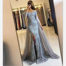 2018 sexy grey lace prom dresses elegant off shoulder 3 4 sleeves mermaid  evening gowns detachable train custom plus size party dress f1193be405fb