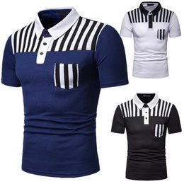 Wholesale black polo tops resale online – T Shirt Mens Summer Short Sleeve T Shirts Striped Crewneck Casual Tops New Arrival Polo Shirts Man Casual Shirts Polo Black White