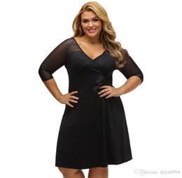 Wholesale fat balls online – design new fashion Unique dress black Net eye V collar Short sleeve Collect the waist Code size fat woman Casual Dresses