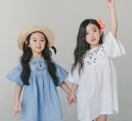 Fit Flare Dress White Australia - Big girls dress 2019 summer kids floral leaves embroidery princess dress children round collar flare sleeve loose doll dress fit 3-12T