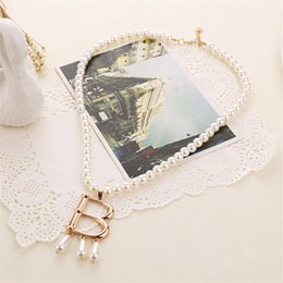silver house pendant Australia - 2019 Fashion Television Tudor Necklace Imitate Pearl Chain Letter B Pendants House of Tudor Alloy Necklace Women Jewelry
