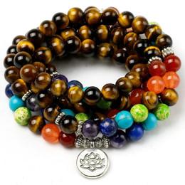 Prayer Beads Bracelet Men Australia - Natural Tiger's Eye 7 Chakra Bracelet Men Women 8mm Stone Beads Healing Balance Reiki Prayer Yoga Strand Bracelets Jewelry Y19051101