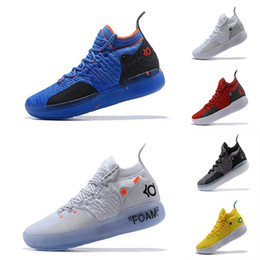 Discount kd shoes orange blue - 2019 Kevin Durant KD 11 Multi-Color KD11 11S Numbers BHM Igloo Men Anniversary University Basketball Shoes X Elite Mid S