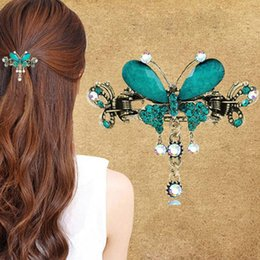 Flower Hair Clip Vintage Australia - 1PC New Vintage Women Elegant Butterfly Flower Hairpins Hair Barrette Clip Crystal Butterfly Bow Hair Clip Accessories