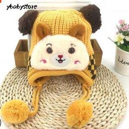 6457bdd9dba New Autumn and winter Children Knitted hat Cartoon protect Ear cap Baby  plus Velvet warm Woolen hat Red Blue Yellow Peach 2pcs lot