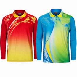 Polo Sportswear Australia - Sportswear Quick Dry Breathable Long Sleeve Badminton Shirt Men Table Tennis Shirt game Training Golf Polo Running Shirts