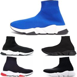 huge discount e2e43 37954 2019 designer Speed Trainer Casual Sock Shoes mens donna Runner sneakers  Luxury Brand nero bianco blu rosso uomo high cut Formatori taglia 36-45