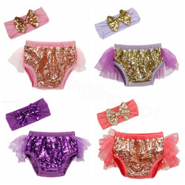 kids sequin pants Canada - 17styles Baby Sequins Shorts Pants Casual Pants Infant Glitter Bling Dance hot pants Princess Kids Shorts with headband 2pcs set FFA3692-2