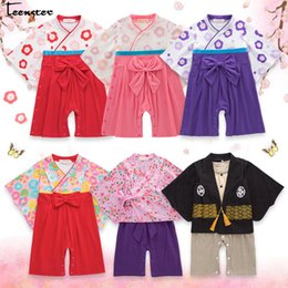 clothing kimono NZ - Baby Girl Rompers Japanese Kimono Style Wiht Big Bow Flower Printed Autumn Spring Long Sleeve Clothes Newborn Infant Boy Costume J190526