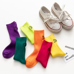 Wholesale sock girl face resale online - Children socks kids smiling face embroidered casual stocking girls candy color cotton socks boys vertical knitted basketball socks F10061