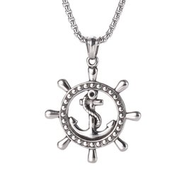 Discount antique ship anchors Men's Necklace Rope Boat Anchor Pendant Retro Caribbean Pirate Ship Rudder Stainless Steel Steering Wheel Antique J