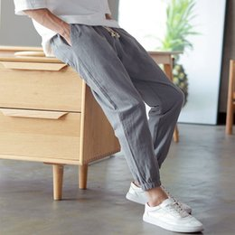 Wholesale mens lightweight summer cotton trousers resale online – Januarysnow Cotton Linen Joggers Black Men s Harem Pants Harajuku Fitness Lace Up Spring Mens Trousers Summer Streetwear Clothes Male