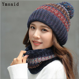 beanies for girls Australia - Ymsaid 2018 Fashion Winter Hat Thick Women's Hat Warm Pom Poms Hats For Female Girl Knitted Beanies Female Cap Neck Warmer
