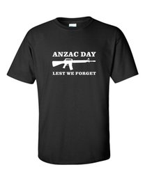 Wholesale Anzac Day Lest We Forget Mens T Shirt Anzac Day Gift War Rememberance Gun M T Shirt For Men Personality Custom Short Sleeve