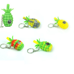 $enCountryForm.capitalKeyWord Australia - 70mm Portable Pineapple Hand Pipe Silicone Smoking Pipe With Metal Bowl Spoon Hand Pipes With Key Chain