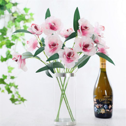 Chinese  Fake Short Stem Cymbidium (3 heads piece) Simulation Orchid for Wedding Home Showcase Decorative Artificial Flowers manufacturers