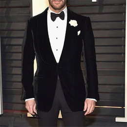 $enCountryForm.capitalKeyWord Canada - 2018 New Arrival Black Velvet Men Suit Slim Fit Classic Wedding Suits For Men Formal Custom Tuxedo 2 Pieces Suits Terno