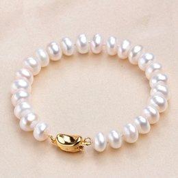 $enCountryForm.capitalKeyWord Australia - High Luster Real Natural Pearl Bracelet 925 Sterling Silver Jewelry 18 20cm Freshwater Pearl 8-9mm Bracelets Bangles For Women J190721