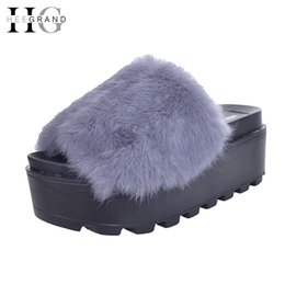 Wholesale Platform Slippers Women Shoes Fur Creepers Wedges Slides Beach Flip Flops Soft Slip On Shoes Woman