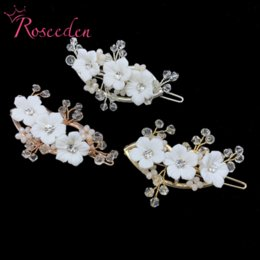 hair forks UK - Sweet White Flower Bridal Barrettes Comb Wedding Hair Clips Jewelry Accessories Crystal Women Hair Ornaments Fork RE3727