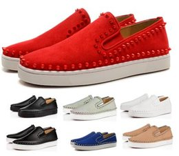 $enCountryForm.capitalKeyWord NZ - Spikes Red Bottom Designers Casual Shoes Sneakers 2019 Men Women Pik Boat Flats Low Red Suede Genuine Leather Man Authentic Luxury Shoes