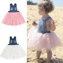 9d55e479d31 Kid girls Strap skirt 2 colors Sleeveless Denim Dress summer kids Gauze TUTU  skirt Kids Designer Clothes Girls girls dresses JY347