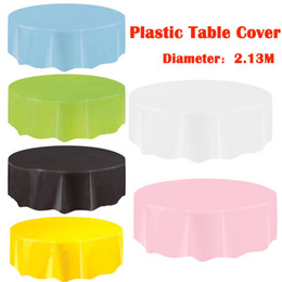 wholesale round table covers 2019 - Large Disposable Plastic Round Tablecloths Dining Party Birthday restaurant Table Cover Oilproof Waterproof Table cloth