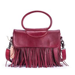 large handbags compartments 2019 - Genuine Leather Casual Retro Top Layer Leather Tassel Handbag High Quality Single Shoulder Slung Ladies Bag Large Capaci