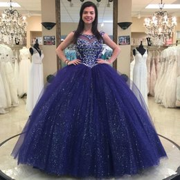 white rhinestone sleeveless shirt Australia - Sparkly Navy Ball Gown Quinceanera Dresses Beaded Crystals Sheer Bateau Sequined Prom Gowns Tulle Rhinestones Sweet 16 Dress